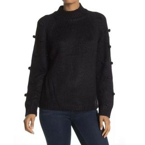 Cece Pom Pom Sleeve Mock Neck Sweater
